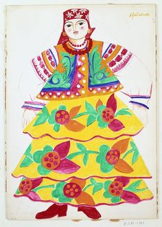 Costume design for a Russian woman in yellow flowered skirt. | Natalia Goncharova | V&A Search the Collections