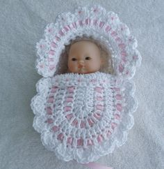 "Details for crochet dolls crib / bassinet suitable for a - 5 ""berry . : Details for crochet dolls crib / bassinet suitable for a – 5 ""Berenguer … Baby Doll Clothes, Crochet Doll Clothes, Crochet Dolls, Baby Dolls, Baby Patterns, Doll Patterns, Crochet Patterns, Cape Bebe, Bitty Baby"