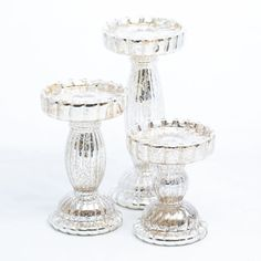 Richland Rayner Mercury Pillar Candle Holder Set of 3 - Save-On-Crafts Mercury Glass Candle Holders, Pillar Candle Holders, Candle Holder Set, Pillar Candles, Glass Fit, Save On Crafts, Jewelry Gifts, Jewelry Making, Handmade