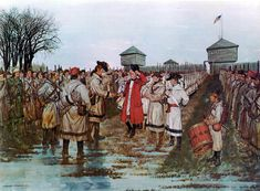 Henry Hamilton (Superintendent of Indian Affairs) surrenders to Colonel George Rogers Clark at Vincennes American Revolutionary War, American War, American History, American Soldiers, Military Art, Military History, Military Uniforms, Pictures Of Soldiers, Action Pictures
