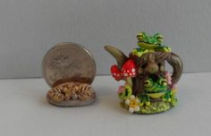 OOAK tree stump teapot with toadstools and frogs Cottage Kitty