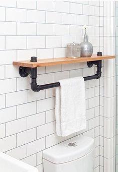 Wonderful Industrial Bathroom Accessories   Industrial Towel Rack Shelf, Rustic Bathroom Accessory Black Iron Pipe,  Wall Hanging, Industrial
