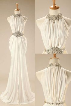 Cheap Easy Long A-line/Princess Prom Dresses, White Sleeveless With Rhinestone Floor-length Prom Dresses #longpromdresses #promdress #eveningdresses #sexydresses