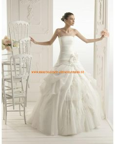 2013 Bunte extravagante Brautmode aus Organza A-Linie mit Blumen