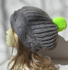 Slouchy Beanie with Pompom Slouchy Pom Pom Hat  by selmahandcraft