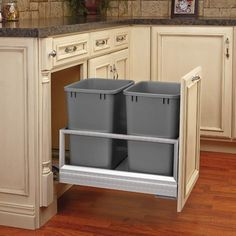 Shop Rev-A-Shelf Double Pull Out Waste Container at Lowe's Canada. Find our selection of pull out trash cans at the lowest price guaranteed with price match. Shelves, A Shelf, Kitchen Pullout, Pull Out Trash Cans, Rev A Shelf, Kitchen Furniture Design, Doors And Floors, Kitchen Organization, Waste Container