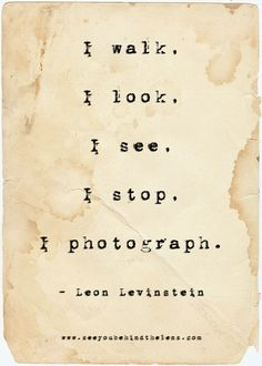Photography Quotes to Live By: See You Behind the Lens... I walk. I see. I stop. I photograph.