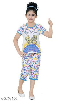 Clothing Sets Stylish Kid's Girl's Clothing Set Fabric: Cotton Hosiery   Sleeves: Sleeves Are Included Size: Age Group (3 - 4 Years) - 22 in Age Group (4 - 5 Years) - 24 in Age Group (5 - 6 Years) - 26 in Age Group (6 - 7 Years) - 28 in Age Group (7 - 8 Years) - 30 in Age Group (8 - 9 Years) - 30 in Type: Stitched Description: It Has 1 Piece Of Kid's Girl's T-Shirt & 1 Piece Of Girl's Bottom Work: Printed Country of Origin: India Sizes Available: 2-3 Years, 3-4 Years, 4-5 Years, 5-6 Years, 6-7 Years, 7-8 Years, 8-9 Years   Catalog Rating: ★4.3 (6663)  Catalog Name: Cutepie Stylish Kid's Girl's Clothing Sets Vol 1 CatalogID_367028 C62-SC1147 Code: 672-2709406-936