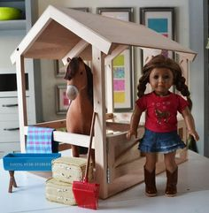 Build Horse Stables for American Girl or Dolls by Ana White American Girl Outfits, American Girl House, American Girl Crafts, American Girls, American Girl Furniture, Girls Furniture, Furniture Plans, Furniture Dolly, Dollhouse Furniture