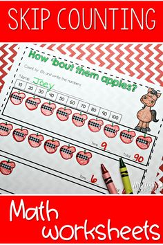 Skip counting math worksheets where students work on counting by 5's and 10's. These activities are for kindergarten students.