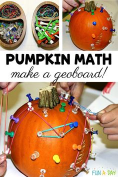 Making a pumpkin geoboard is an amazing way to explore pumpkin STEM concepts with the kids. Be sure to add it to your preschool pumpkin activities this fall! Preschool math activities don't get any easier or more hands-on than this. Preschool Teacher Tips, Fall Preschool, Preschool Lesson Plans, Preschool Activities, Early Learning Activities, Autumn Activities For Kids, Stem Activities, Fun Learning, Enchanted Learning