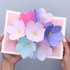 Diy Paper Flowers For Cards For Kids Ideas Diy Mother's Day Crafts, Mothers Day Crafts, Diy Arts And Crafts, Creative Crafts, Handmade Crafts, Crafts For Kids, Paper Crafts, Card Crafts, 3d Paper