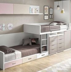 45 Impressive Girl Room Design Ideas With Two Beds For Your Inspiration Kids Beds With Storage, Cool Beds For Kids, Bedroom Table, Bedroom Decor, Warm Bedroom, Bedroom Storage, Girl Room, Girls Bedroom, Bunk Rooms