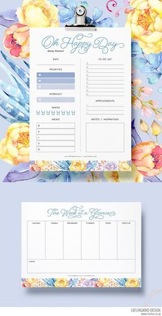 free daily and weekly planner printables