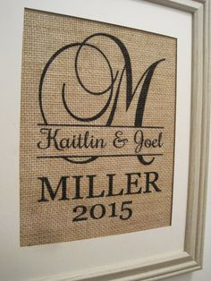 Burlap MonogramBurlap WeddingPersonalized Burlap by SunBeamSigns, $21.00