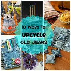 Great Ideas For Upcycling Those Old Jeans is one of my most popular posts so I thought I'd see if i could find some other ideas for repurposing old jeans. I tried to find ideas that go beyond the normal making a bag or skirt out of them. The following are some of the best creative ways to repurpose old jeans. Make a pretty denim covered journal from Life Made Creations.  Repurpose old jeans into a pencil cube. Tutorial at Crafts n' Coffee Make a camera bag from Evil Mad Scientist How about…