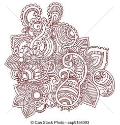 Vector - Henna Mehndi Tattoo Doodles Vector - stock illustration, royalty free illustrations, stock clip art icon, stock clipart icons, logo, line art, EPS picture, pictures, graphic, graphics, drawing, drawings, vector image, artwork, EPS vector art