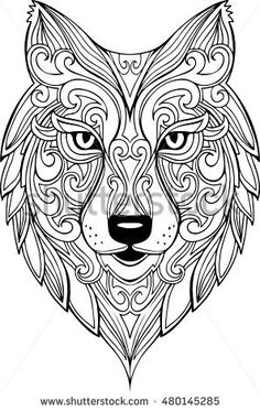 Vector hand drawn doodle wolf head illustration. Zentangle decorative wolf head drawing for coloring book