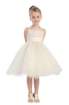 Flower Girl Dresses #TT5585 : Gorgeous Girl Dress w/ Flower-Like Embroidered Bodice & Tulled Skirt Girl Dress