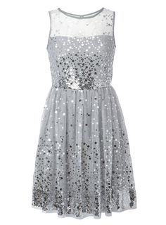 Silver All Over Sequin Mesh Prom Dress - older girls (8-16) - special occasion  - Flower girl?