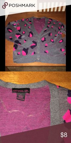 Grey and Pink Animal Spot Cardigan Size Large V-neck Cardigan.  Dark grey with vibrant pink animal spot print.   Size Large.  By Material Girl.   Important:   All items are freshly laundered as applicable prior to shipping (new items and shoes excluded).  Not all my items are from pet/smoke free homes.  Price is reduced to reflect this!   Thank you for looking! Material Girl Sweaters Cardigans