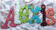 Wooden Wall Letters Monogram Initials Baby Name Wall Hanging Custom Painted Name Art Kids Decor Personalized Alphabeticals Housewares