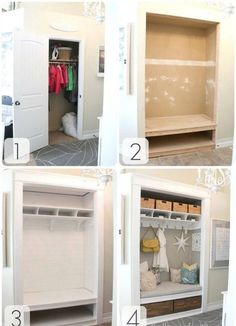 I think I need to do this with our front hall closet.. Only make the seat open from the top to store more shoes and two shelves above the seat for more basket space