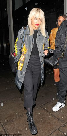 Night on the town: Rita Ora looked fashionable as ever as she dined at Hakkasan restaurant...