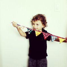 Mini Fabric Bunting Nursery Decor or Office Decor by SevenLittleRabbits