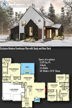 Contemporary House Plan 260007RVC gives you 2300+ square feet of living space with 4 bedrooms and 2.5 baths. AD House Plan #260007RVC #adhouseplans #architecturaldesigns #houseplans #homeplans #floorplans #homeplan #floorplan #houseplan Contemporary House Plans, Modern House Plans, Vertical Siding, Sims House Plans, Beautiful Home Designs, Next At Home, Square Feet, Building A House, Architecture Design