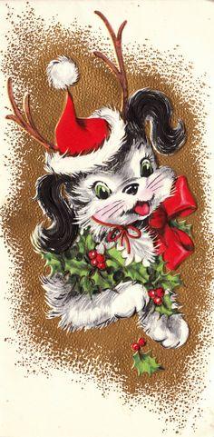 Vintage 1960s Christmas Greetings Card from poshtottydesignz on etsy