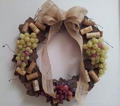 Wine Cork Grapevine Wreath by KBKreationsShop on Etsy, $35.00