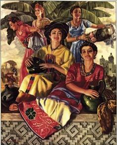 Mexican Calendar Art Postcard Reproduction Vintage 1946 Village Women
