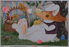 Ashley Dillon Easter Rabbit Hand Painted Needlepoint Canvas