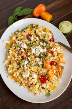 Grilled Corn Salad with Feta and Sweet Peppers Recipe on Yummly