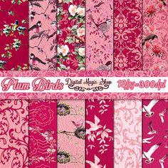 Birds Digital Paper Pack   Plum Digital Paper  by DigitalMagicShop