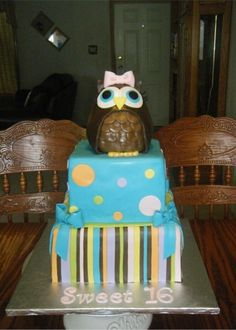 Owl birthday cake By MrsTina on CakeCentral.com