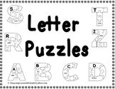 Letter Puzzles:  Print on card stock paper, makes the puzzles stronger and easier to put back together.   Have kids color and cut out puzzle pieces or just have them color the page.  I also added a small tracing letter and a picture for each letter.