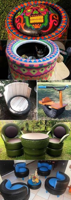 idealsad.com Diy Home Crafts, Diy Arts And Crafts, Diy Crafts To Sell, Diy Home Decor, Tire Furniture, Recycled Furniture, Tyres Recycle, Diy Recycle, Garden Projects