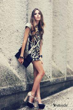 Black Vintage Round Neck Short Sleeve Floral Silk Dress - Sheinside.com