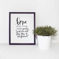 Hope Whispered // PRINTABLE DIGITAL DOWNLOAD // typography