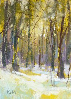 Winter Landscape aceo  Original Pastel Painting