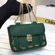 4950160805e 2016 S S Chloe Small Elsie Threaded Chain Bag in Green  213.50