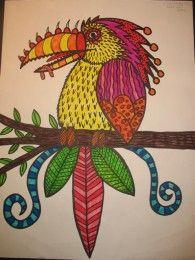 Fantasy Bird - great for teaching elements of art