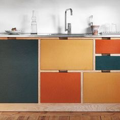 Custom built kitchen system and interior for a private house in Stockholm, Sweden. The frame is made with pine plywood and the drawer fronts are in different colours of valchromat — reminiscent the leaves in Swedish autumn. Plywood Furniture, Furniture Design, Plywood Desk, Plywood Interior, Plywood Shelves, Plywood Walls, Plywood Cabinets, Pallet Shelves, Furniture Market