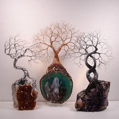 Tree Of Life Spirits sculpture on Uruguay Amethyst Geode Crystal cluster with Ametrine Cactus Spirit Quartz Crystal.