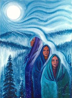 Three women - Three Phases of Life ~ by Marti Fenton . Native American Paintings, Indian Paintings, Abstract Paintings, Oil Paintings, Spirited Art, Goddess Art, Mystique, Southwest Art, American Indian Art