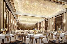 Wedding Banquet Halls | luxury lighting design 3d rendering of banquet hall chinese banquet