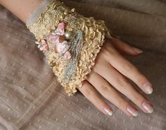 apple blossoms  delicate romantic wrist cuff from by FleurBonheur, $75.00