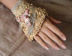 apple blossoms delicate romantic wrist cuff from by FleursBoheme